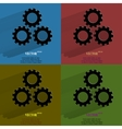 Color set settings sign web icon flat design vector