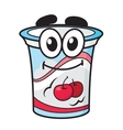 Cherry yoghurt milk or cream cartoon character vector