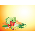 Vegetables horizontal background vector