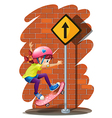 A girl skateboarding near the signboard vector