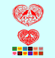 Heart love ornate with couple bird art vector