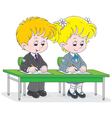 Schoolchildren writing vector