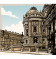 Vintage hand drawn view of opera in paris vector