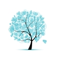 Art floral tree blue for your design vector