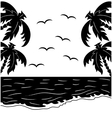 Black and white tropical landscape vector