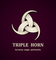 Celtic triple horn symbol design template vector