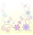 Flowers butterflies and leaves vector