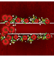 Abstract red grunge background with red floral vector