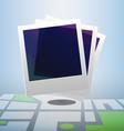 Polaroid icon on block street map vector