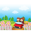 A red car with a young girl and boy vector