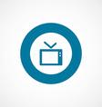 Tv bold blue border circle icon vector