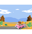 A pink car with animals travelling vector