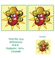 Find 5 differences - puzzle for kids vector