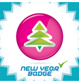 Merry christmas new year badge vector