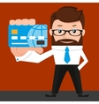 Lucky businessman is presenting a credit card vector