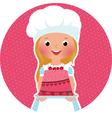 Girl with cake baker vector