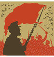 Armed man with a red flag revolution vector