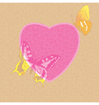 Valentine card - decorative heart with butterflies vector