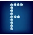 diamond alphabet letter f vector