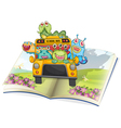 Monsters school bus and book vector