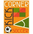 Soccer conner kick retro poster in flat design vector