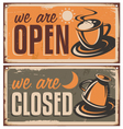 Retro door signs for coffee shop or cafe bar vector