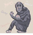 Funny serious monkey chimpanzee vector
