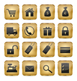 Golden shop icons vector
