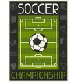 Soccer championship retro poster in flat design vector