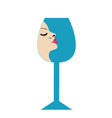 Pretty lady in a glass- beverage business logo vector