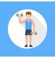 Man doing exercises with barbell vector