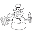 Cartoon snowman holding a paper and pencil vector