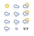 Color weather conditon icons collection vector