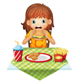 A hungry little girl eating vector