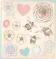 Hand drawn vintage bees flowers and hearts set vector