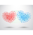 Couple of connected hearts vector