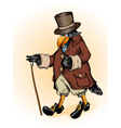 Fantastic raven in a frock coat and the cylinder vector