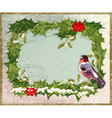 Old vintage postcard with holly and bullfinch vector