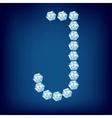 diamond alphabet letter j vector