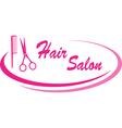 Hair salon sign with design elements vector