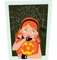 Girl with pumpkin halloween vector
