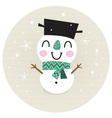 Cute retro snowman boy in circle isolated on beige vector