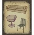 Furniture set for design in grunge frame vector