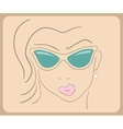 Handdrawn woman face wearing sunglasses close-up - vector