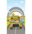 Monsters school bus and rainbow vector