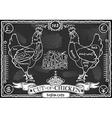 Vintage blackboard of english cut of chicken vector
