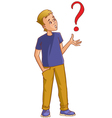 Confused cartoon man with question-mark vector