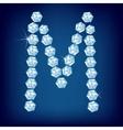 Diamond alphabet letter m vector