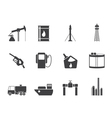 Silhouette oil and petrol industry icons vector