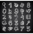 25 sketch education icons numbers and objects on vector
